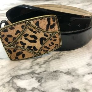 Accessories - Oscar De La Renta Black animal print belt sz XL